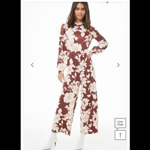 Satin cropped floral ring jumpsuit